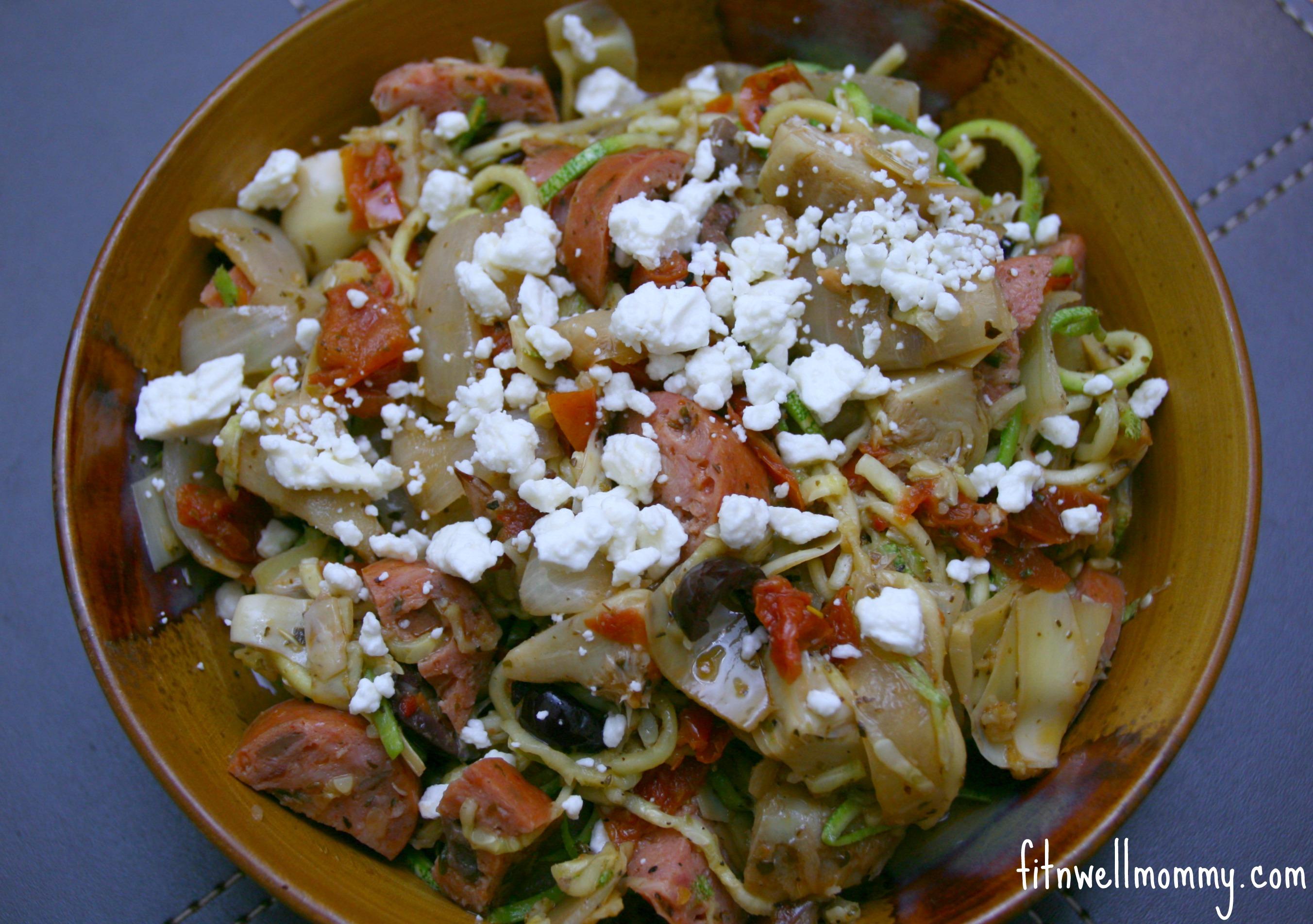 Zucchini mediterranean pasta deliciously fit for Mandolin mediterranean kitchen